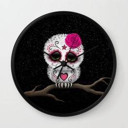 Adorable Pink Day of the Dead Sugar Skull Owl Wall Clock