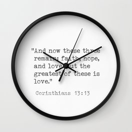 Bible quotes Corinthians 13:13 Wall Clock