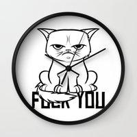 grumpy Wall Clocks featuring Grumpy Grumpy by Navass