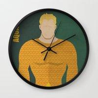 aquaman Wall Clocks featuring Aquaman by Loud & Quiet