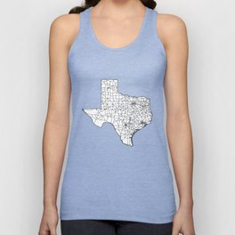 Texas White Map Unisex Tank Top
