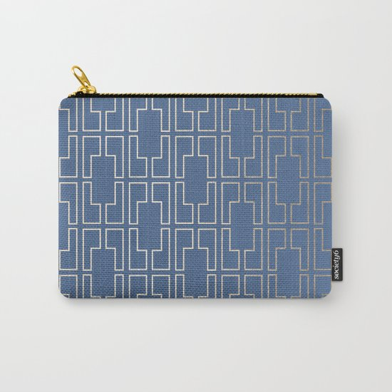 Simply Mid-Century in White Gold Sands and Aegean Blue Carry-All Pouch