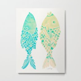 Indonesian Fish Duo – Turquoise & Cream Palette Metal Print