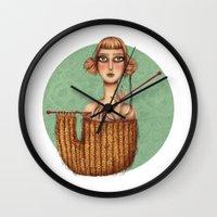 lana Wall Clocks featuring Lana by Alice Celia Lioniello