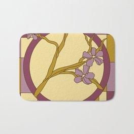 Lilac modern art nouveau flowers Bath Mat