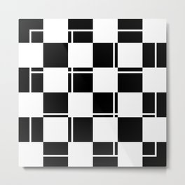 Black and white squares, crosses and lines Metal Print