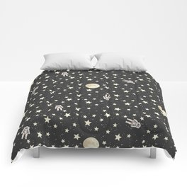 Space - Stars Moon and Astronauts on black Comforters