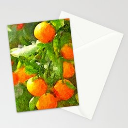 TROPICAL ORANGE TREE PAINTING Stationery Cards