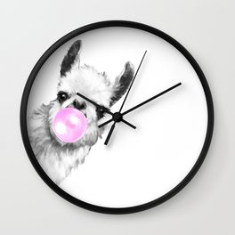 Bubble Gum Sneaky Llama Black and White Wall Clock