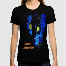 Black Cat Portrait with Happy Halloween Greeting  T-shirt