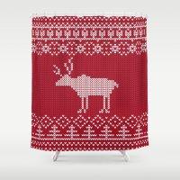 reindeer Shower Curtains featuring  Reindeer by Julia Badeeva