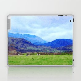 Sheep in Pasture View from Castlerigg Stone Circle, Lake District UK Watercolor Laptop & iPad Skin