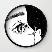 contact Wall Clocks featuring Contact by Henn Kim