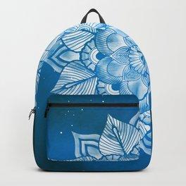 Floral Mandala in Blue Galaxy 01 Backpack