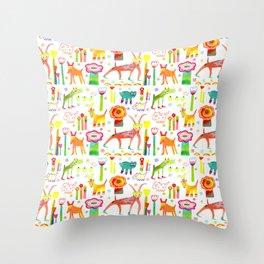 Animal Garden Throw Pillow