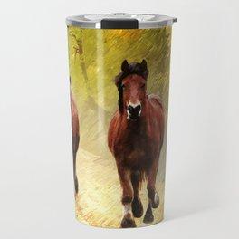 Horses in Autumn Travel Mug