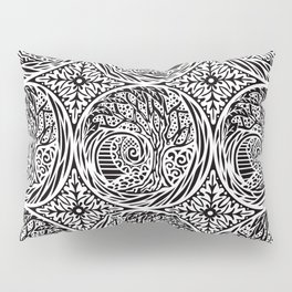 Tree motif in black in white Pillow Sham