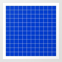 Grid Pattern Bright Cobalt Blue 003DCE Stripe Line Minimal Stripes Lines Spring Summer Art Print