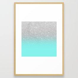 Modern girly faux silver glitter ombre teal ocean color bock Framed Art Print