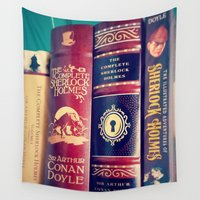 sherlock holmes Wall Tapestries featuring Library of Sherlock Holmes by Apples and Spindles