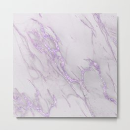 Marble Love Purple Metallic Metal Print