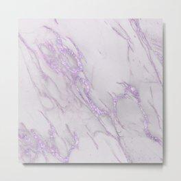 Marble Love Purple Metallic Metal Print