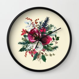 Christmas Winter Floral Bouquet No Text Wall Clock