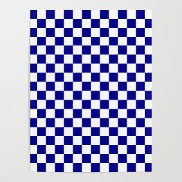 Jumbo Blue and White Australian Racing Flag Checked Checkerboard Poster