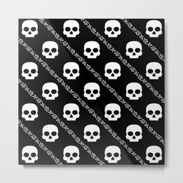 Skulls & Flowers - Black V2 Metal Print