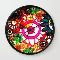 hippy Wall Clocks featuring Hippy Shake! by Charlotte Douthwaite