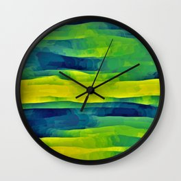 Acid Yellow and Indigo Abstract Wall Clock