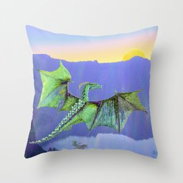 Green Crystal Water Dragon Throw Pillow