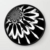 blankets Wall Clocks featuring Black & White Modern Flower by 2sweet4words Designs