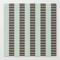 Tan Black Mint Checkerboard Canvas Print