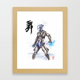 Liara from Mass Effect sumi style with calligraphy Framed Art Print