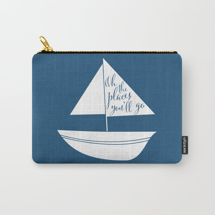 Dr Seuss Oh the Places you'll go navy sail boat Carry-All Pouch
