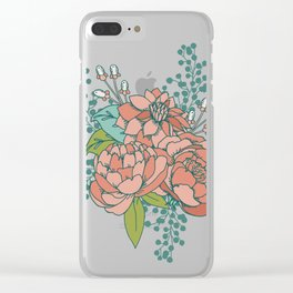 Moody Florals in Teal Clear iPhone Case