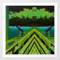 matisse Art Prints featuring Heron Matisse by Ellen Turner