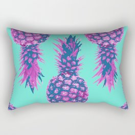 Modern colorful Pineapple pink blue turquoise background Rectangular Pillow