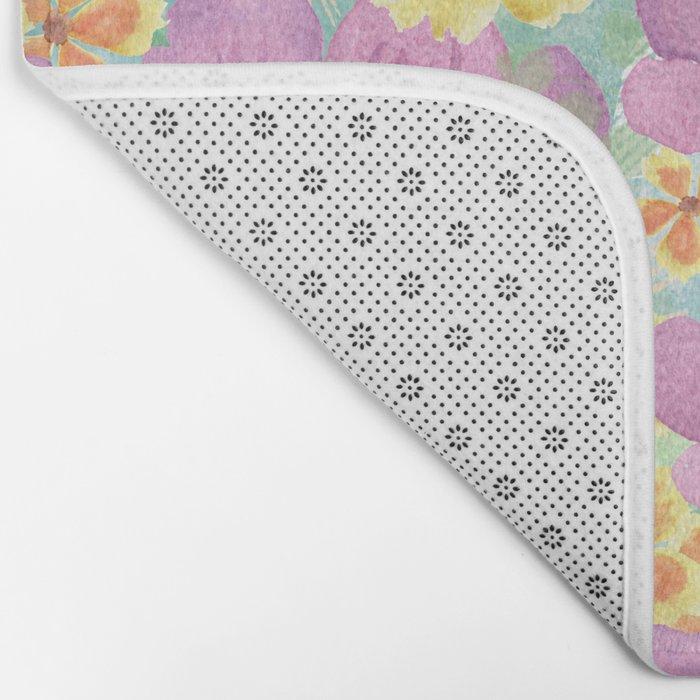 floral pattern. 3 Bath Mat