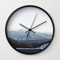 subaru Wall Clocks featuring Siskiyou Mountains by K Creative