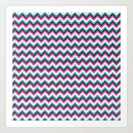 Colourful Ikat Chevron Pattern Art Print