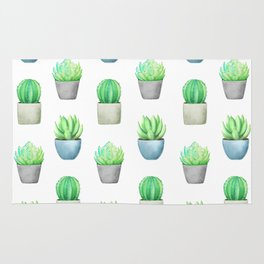 Succulent and Cactus Garden Pots Pattern Rug