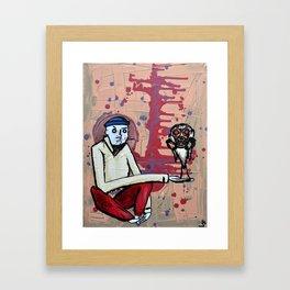 Bird In Gas Mask Framed Art Print