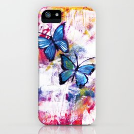 Blue Butterflies on Colorful  Mixed Media Background iPhone Case