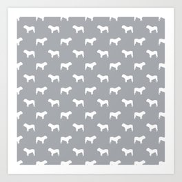 English Bulldog pattern grey and white minimal modern dog art bulldogs silhouette Art Print