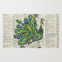peacock Area & Throw Rugs featuring Peacock  by Sheree Joy Burlington