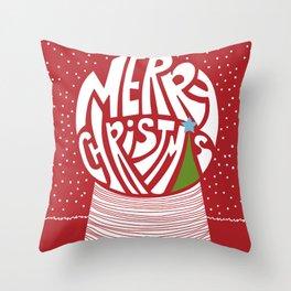 Merry Christmas Snowglobe Throw Pillow