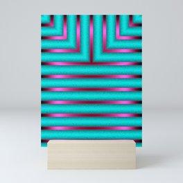 Art Deco Geometric Green and Pink Glowing Columns Mini Art Print