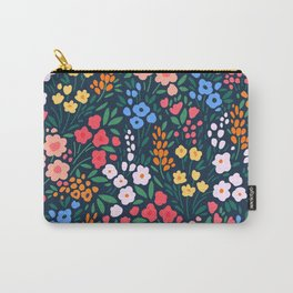 Vintage floral background. Flowers pattern with small colorful flowers on a dark blue background.  Carry-All Pouch